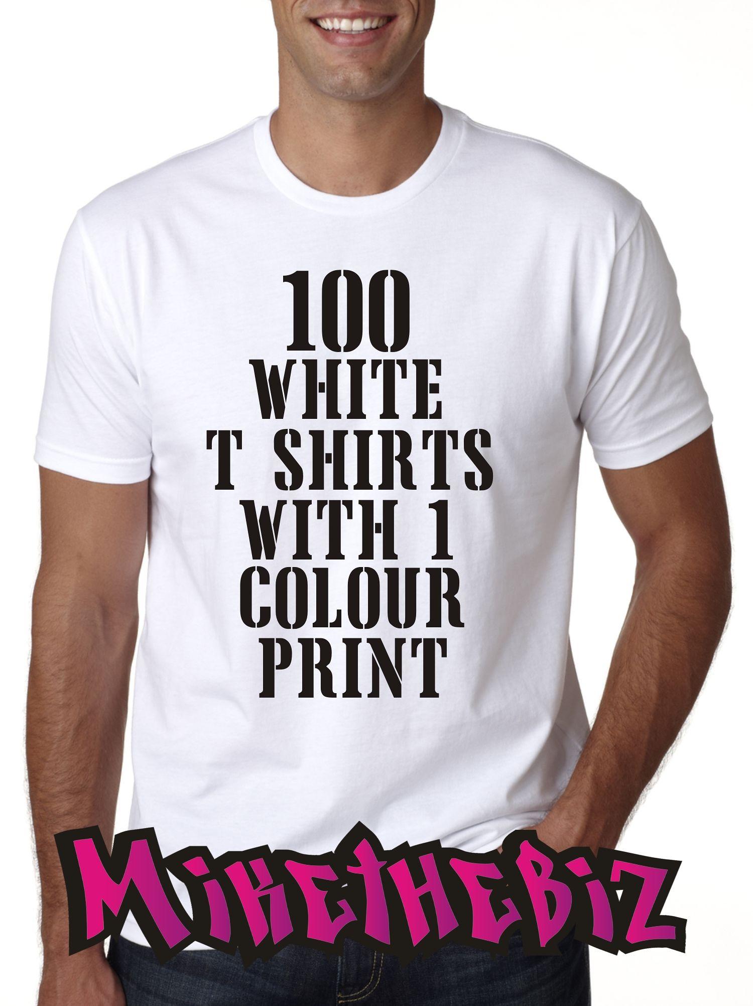 18071be7 100 White Screen Printed T Shirts