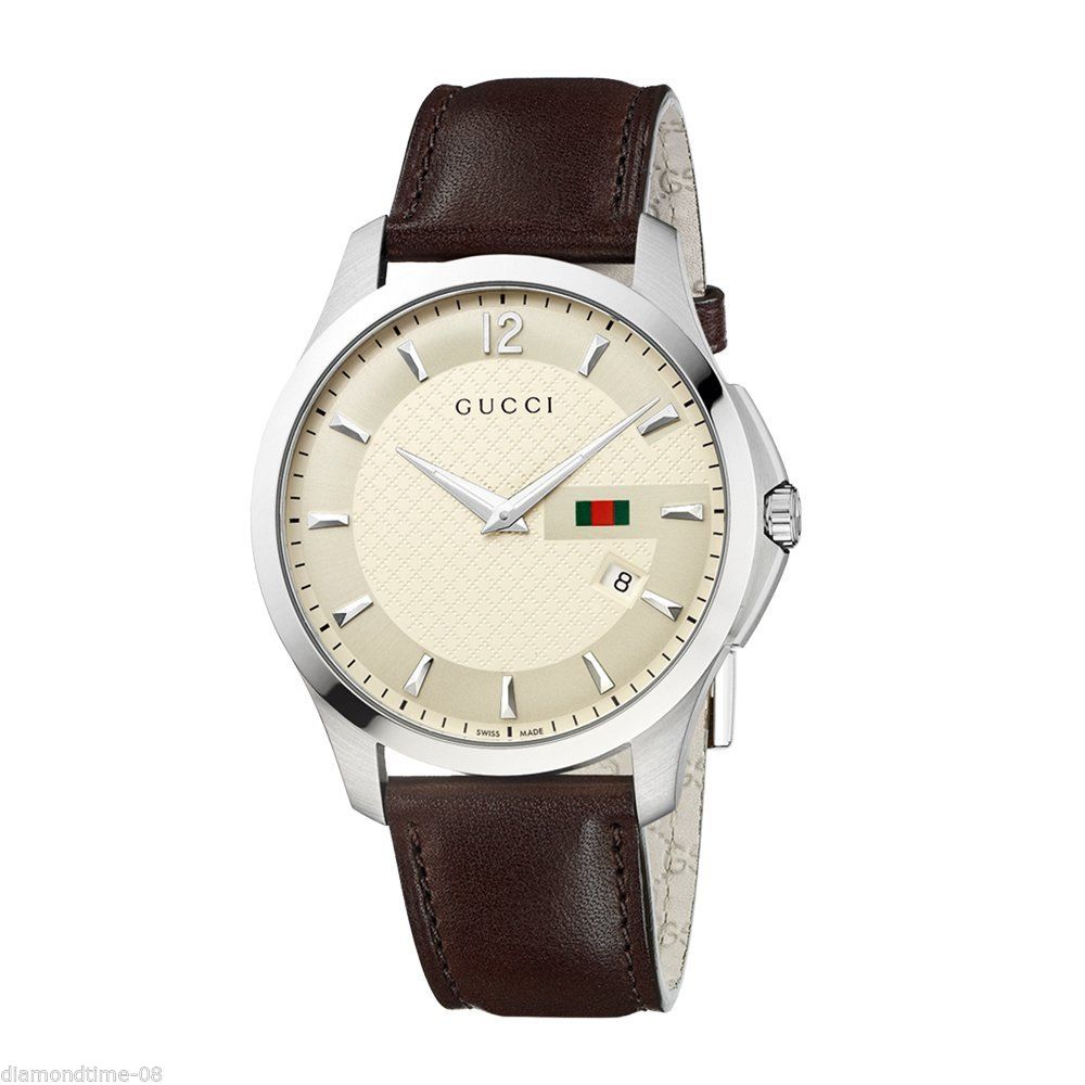 783969c395d Gucci G-Timeless YA126303 Ivory Dial Leather Strap Men s Watch