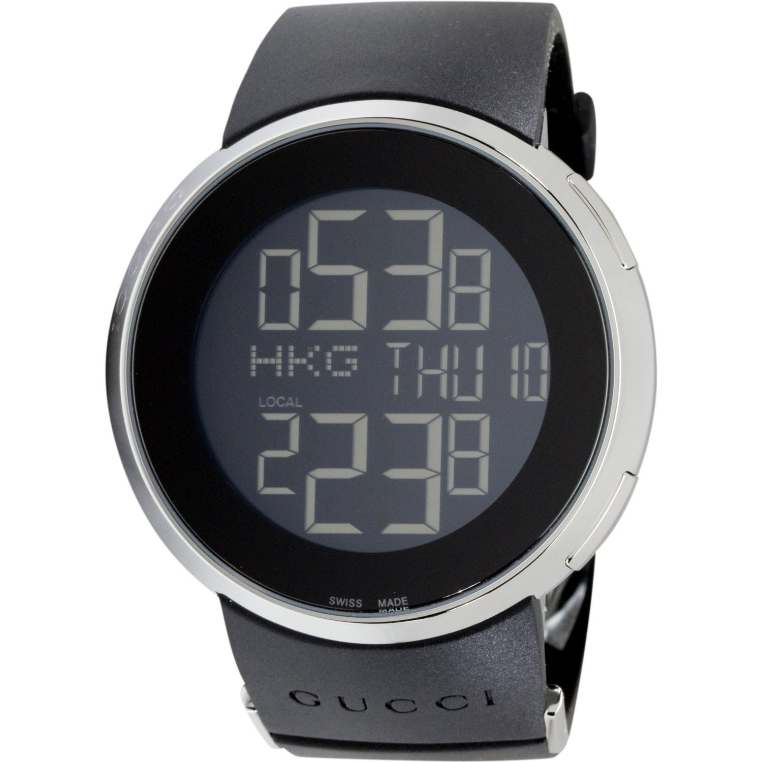Gucci 114 I Gucci Ya114202 Digital Display Black Rubber
