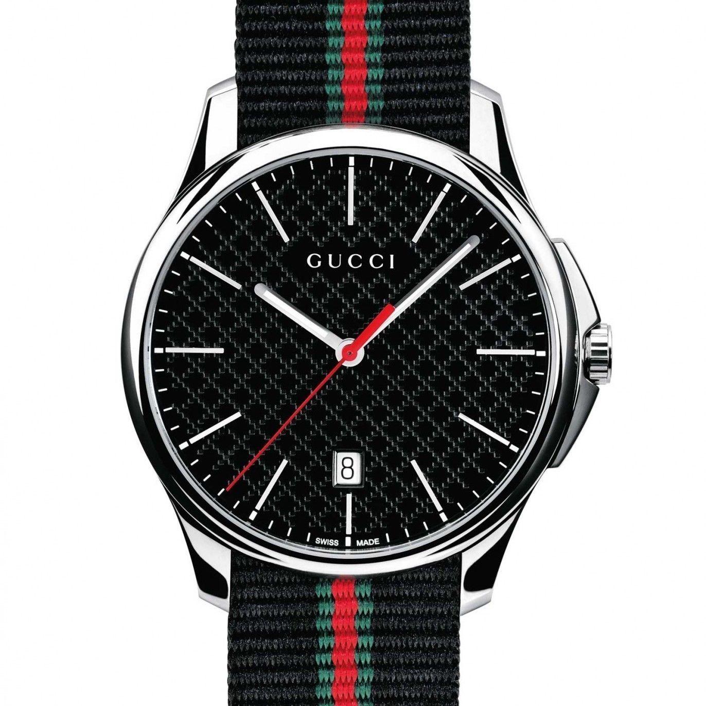 Gucci YA126321 Black Dial Black Red Green Strap Men's Watch