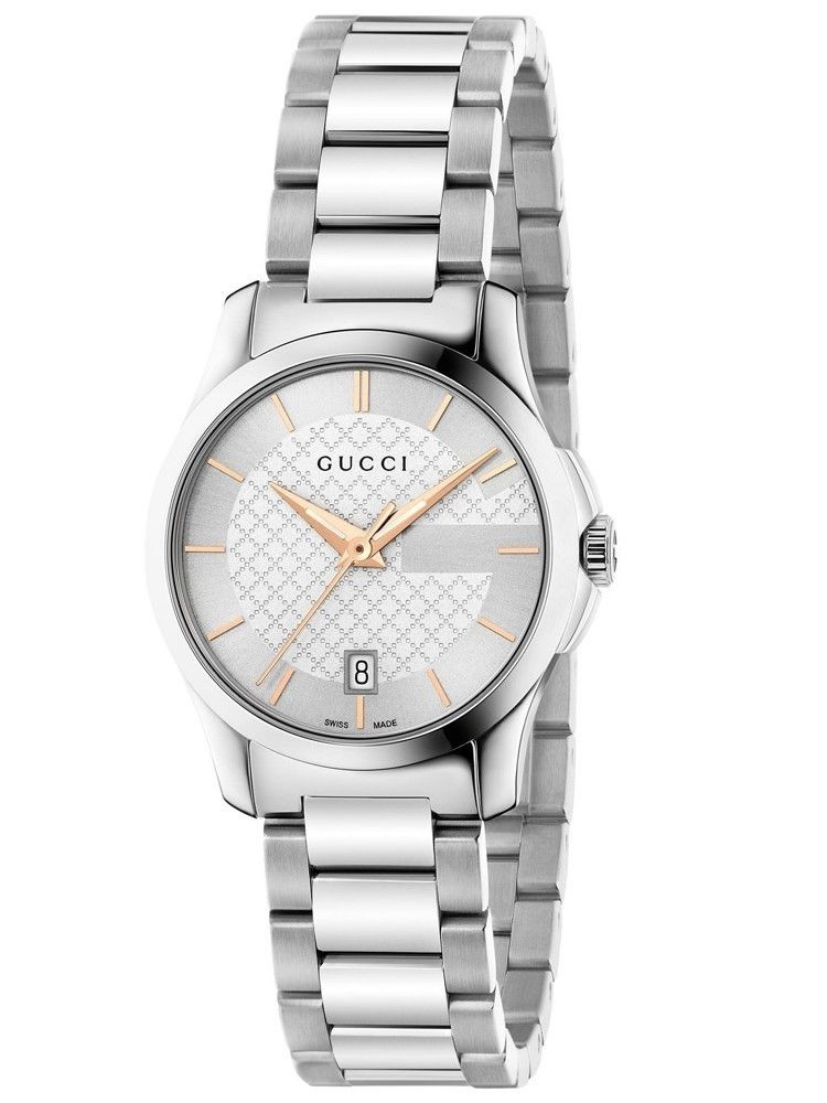 Gucci Ya126523 Rose Gold Amp Silver Dial Ladies Watch