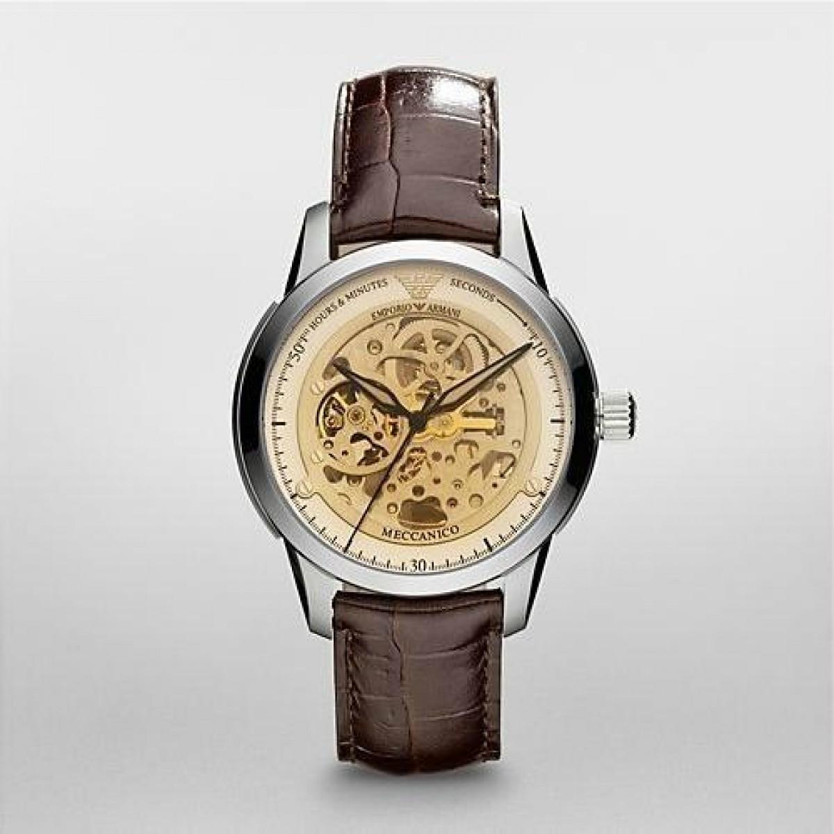 Emporio Armani AR4627 Mens Brown Leather Strap Meccanico Watch