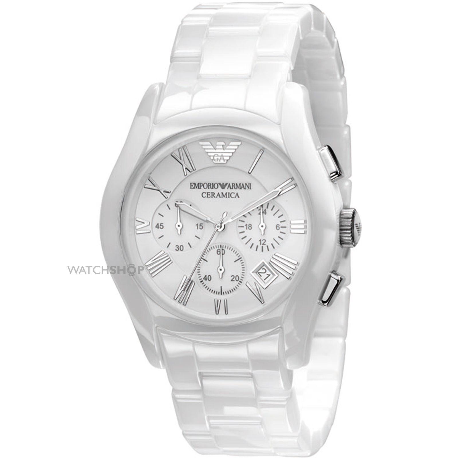 Emporio Armani AR1403 Gents White Ceramic Round White Dial Watch. AR1403 9c14f570af