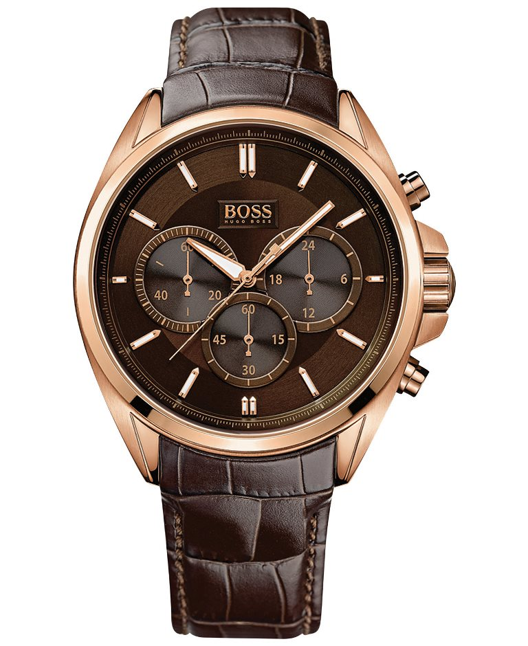 Hugo Boss Men S Chronograph Driver Brown Leather Strap