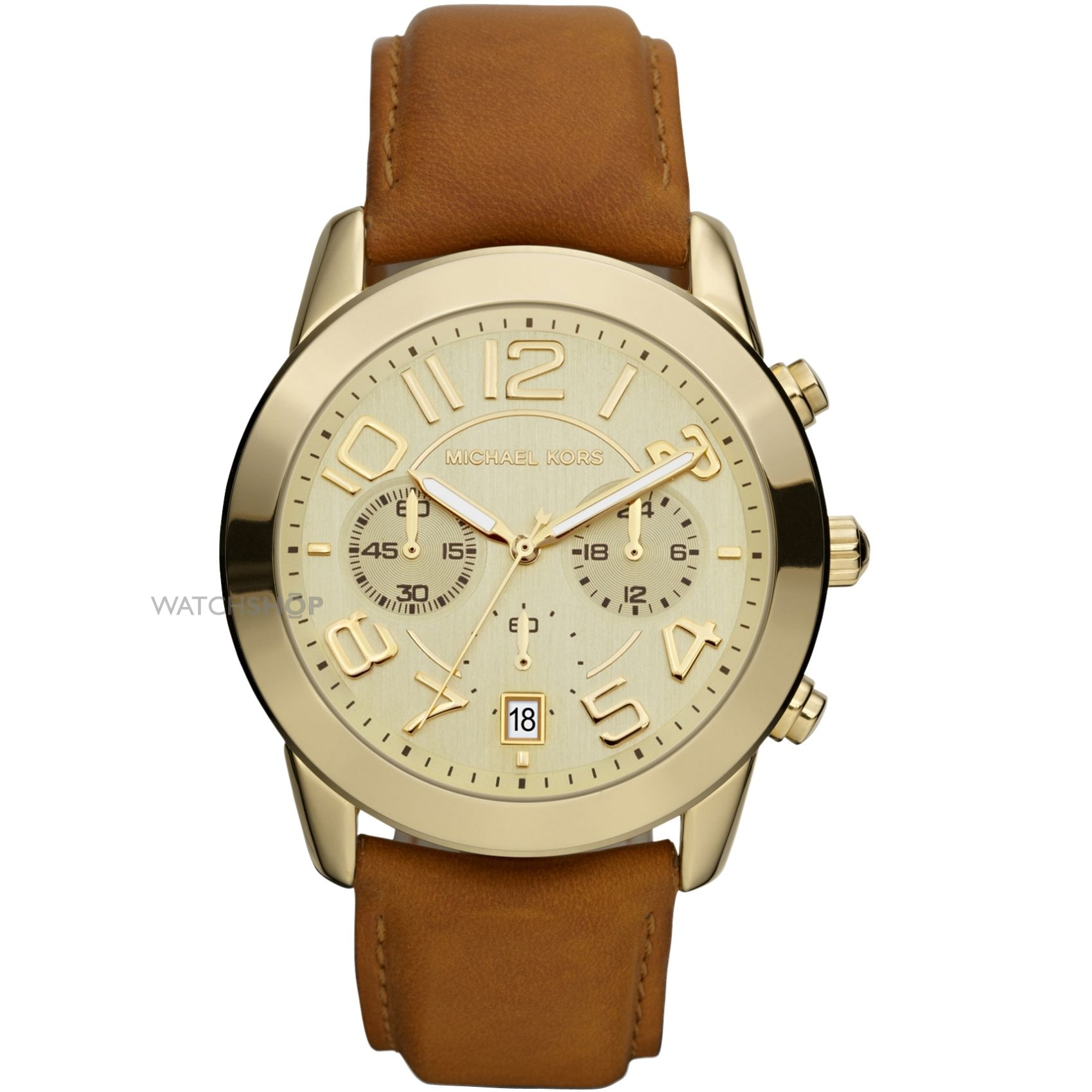 4d425a2c184 Michael Kors Mercer Champagne Dial Brown Leather Ladies Watch MK2251