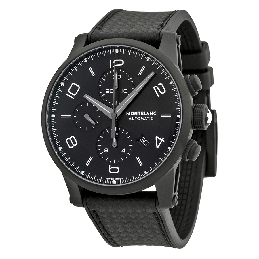 dfa2bdeef Montblanc Montblanc Timewalker Extreme Chronograph Black Dial Black Leather  Mens Watch
