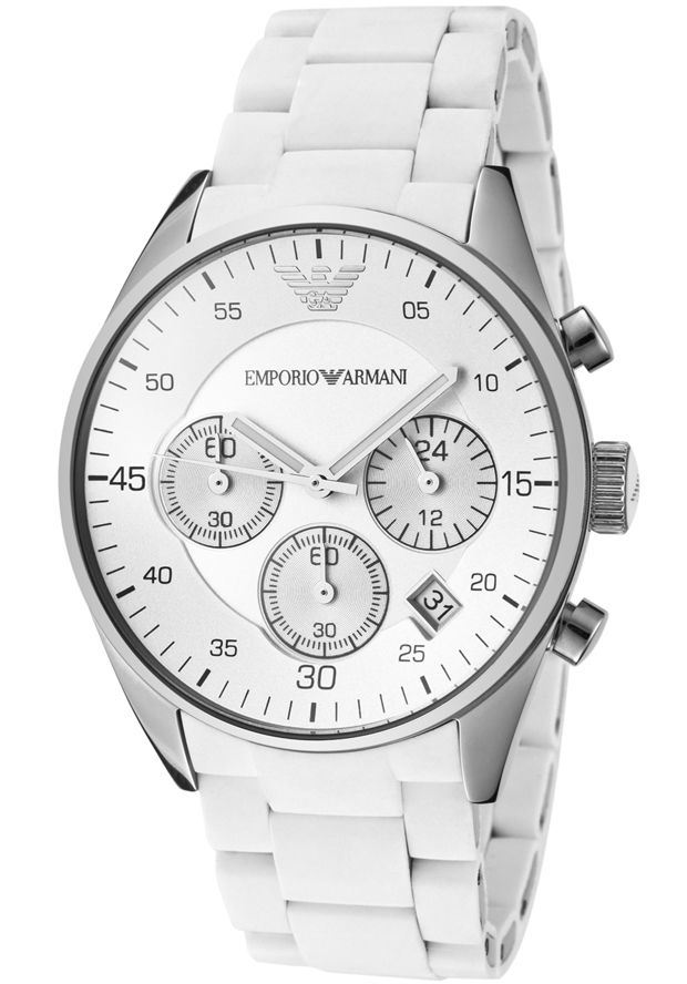 b998e34d5 Emporio Armani Chronograph Silicone White Men's Watch AR5867