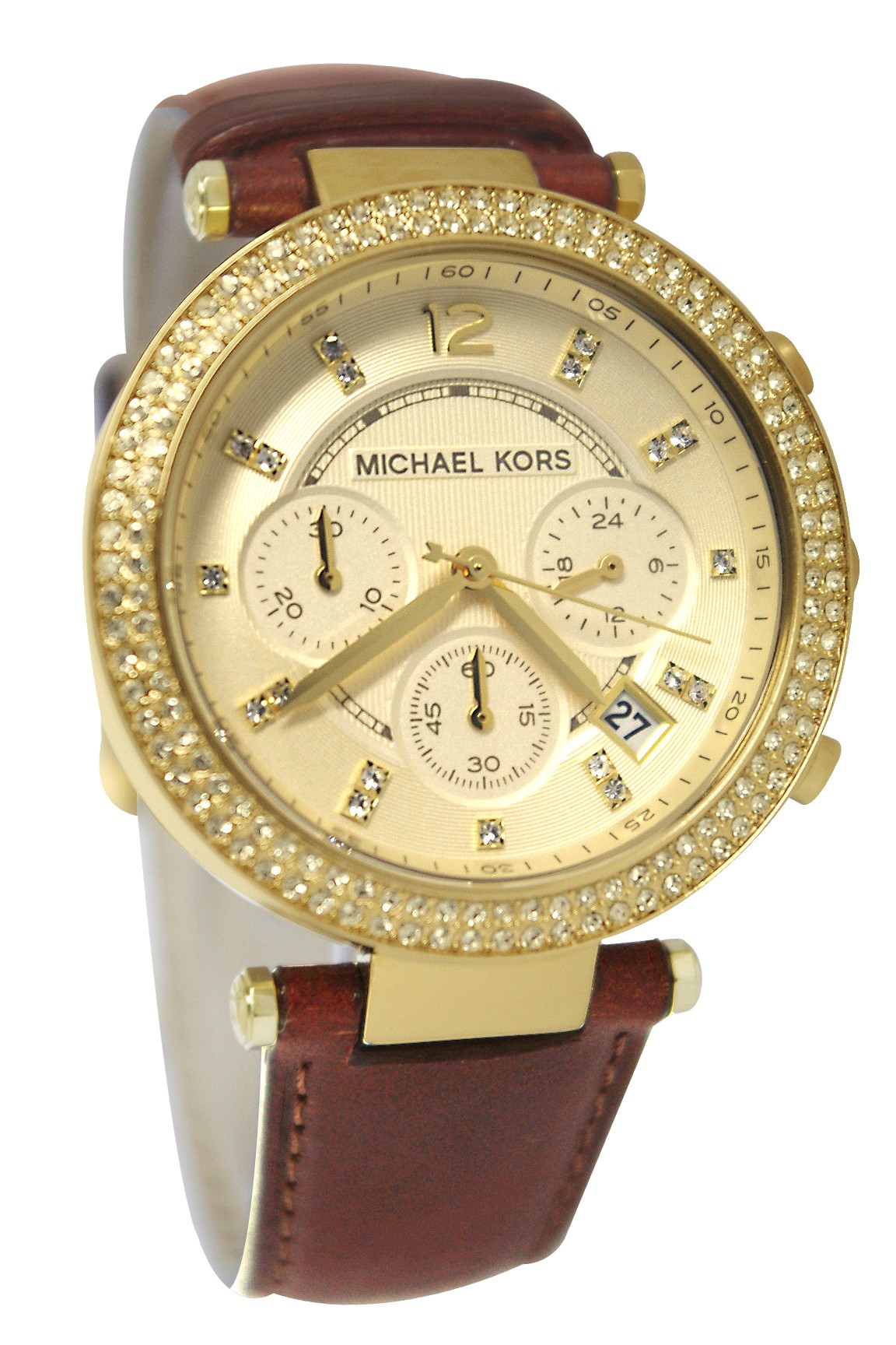 95ee69a6051d Michael Kors Chronograph Gold Dial Crystal set Ladies Watch MK2249
