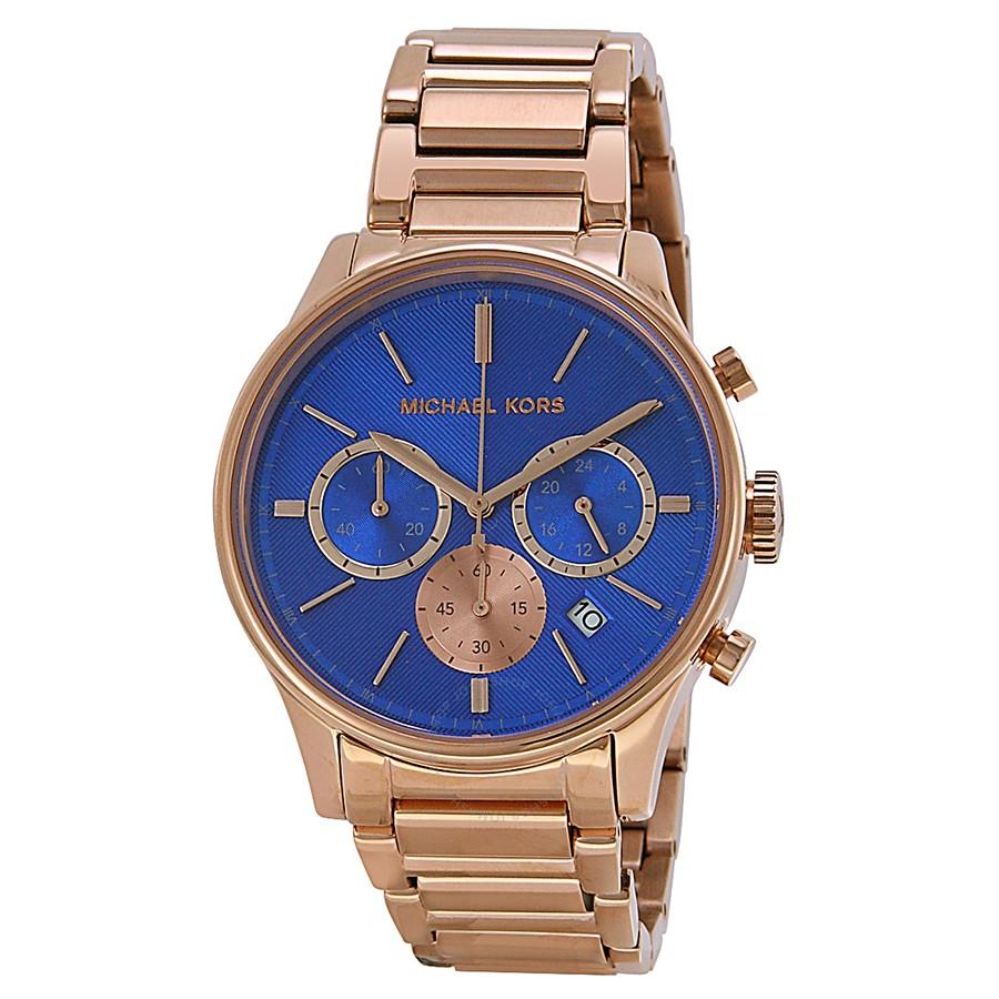 1543b76dab43 Michael Kors Chronograph Blue Dial Rose Gold-tone Mens Watch MK5911