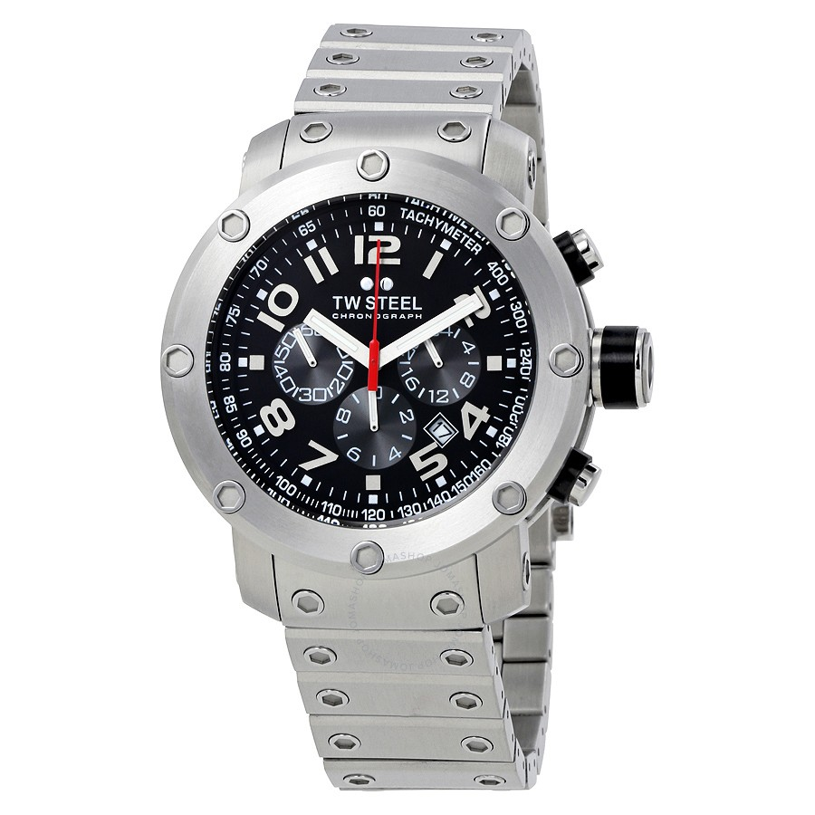 df4a5e97927 TW Steel Grandeur Tech 45mm Black Dial Stainless Steel Chronograph Mens  Watch