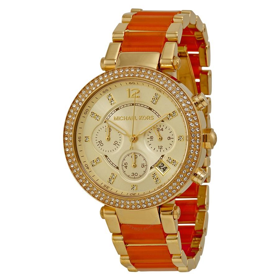 2e85fb941926 Michael Kors MK6139 Gold-tone and Orange Acetate Ladies Watch