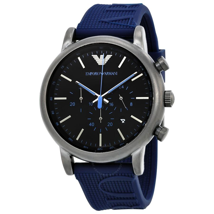8d10e23841 Emporio Armani Men's AR11023 Blue Silicone Analog Quartz Dress Watch
