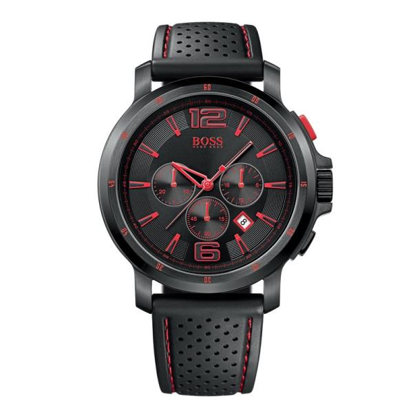 Hugo Boss Watches 1512597 Mens Black Leather With Red