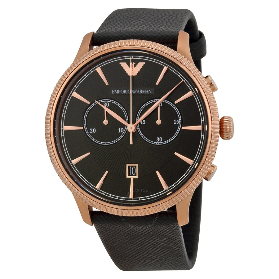 56b418c416db Emporio Armani AR1792 Classic Men s Black Leather Chronograph Watch