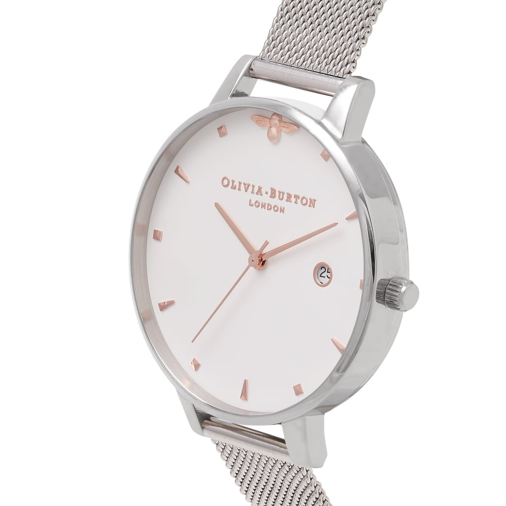Olivia Burton OB16AM115 Queen Bee Rose Gold   Silver Mesh Ladies Watch.  OB16AM115 1d199706ca