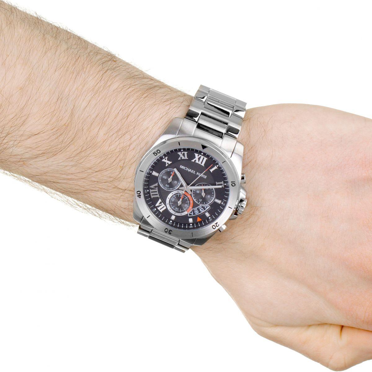 01a82917840b Michael Kors MK8438 Brecken Black Dial Stainless Steel Men s Watch. MK8438