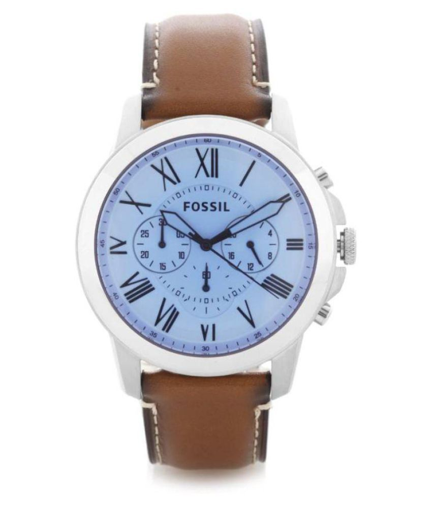 b0a8a6d535fa Fossil FS5184 Grant Blue Dial Brown Leather Men s Chronograph Watch