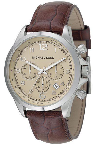 Michael Kors Watches Men S Brown Leather Chronograph Brown