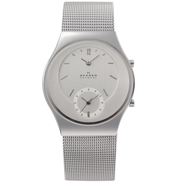 Skagen 733xlss Unisex Dual Time Zone Function Mesh Band Watch