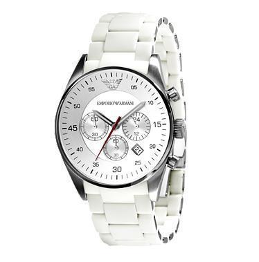 75d737bfff3f5 Emporio Armani AR5859 Mens White Sport Chronograph Watch