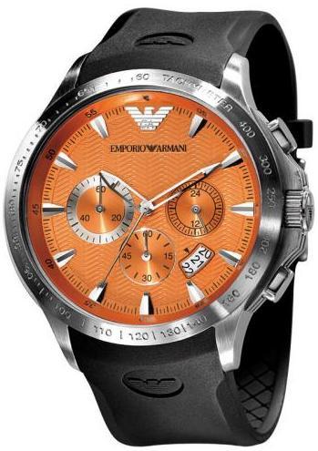 Emporio Armani Ar0652 Mens Rubber Strap Chronograph Design