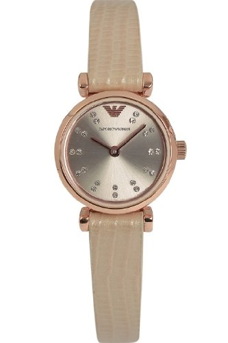 Emporio Armani Ar1687 Women S Crystal Dial Leather Strap Watch