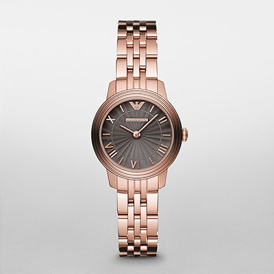 b6a079fc29ef Emporio Armani Ar1719 Ladies Retro Rose Gold Dial Watch