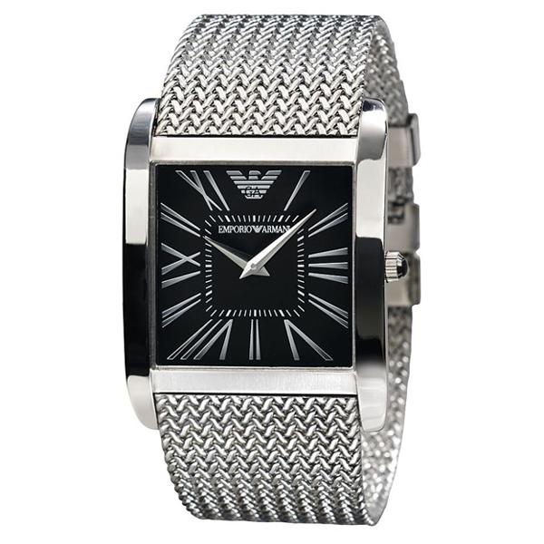 Emporio Armani AR2012 - Mens Black Dial Silver Bracelet Classic Watch 393b0e302f13