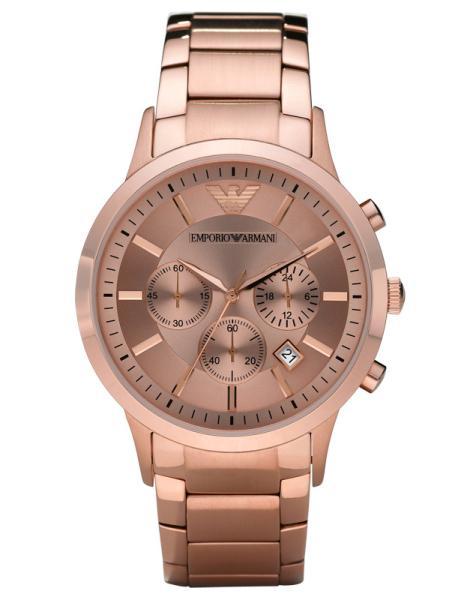 emporio armani ar2452 mens rose gold chronograph watch. Black Bedroom Furniture Sets. Home Design Ideas