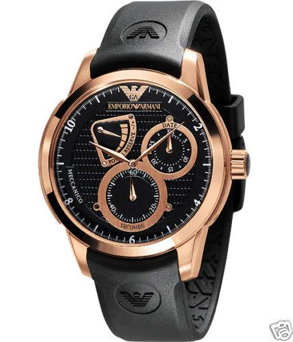 81619abeac1cf NEW EMPORIO ARMANI MENS BLACK ROSE GOLD WATCH AR4619
