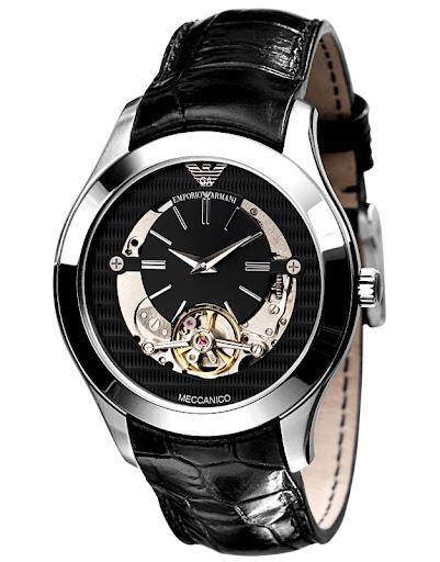 Emporio Armani Mens Ar4640 Meccanico Black Leather Band Watch