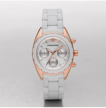 8c82b6b3f1d6a Emporio Armani AR5945 Ladies Sportivo Rose Gold White Bracelet Watch