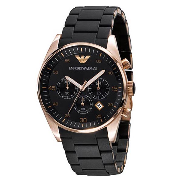 b5add77b2ff62 Emporio Armani AR5905 - Mens Chronograph Rose Gold Black Watch