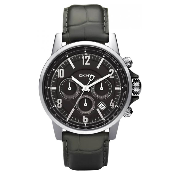 Dkny ny1464 mens chronograph black leather strap classic watch for Leather watch for men
