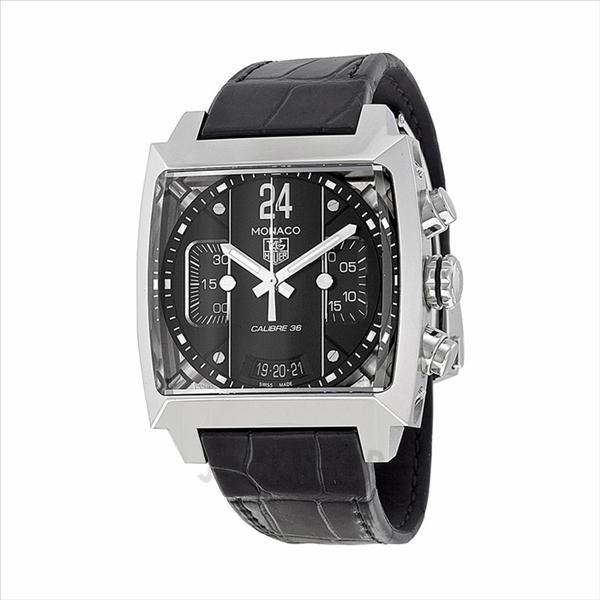 1f2c2f03321ca Tag Heuer Monaco Chronograph Black Dial Black Leather Mens Watch