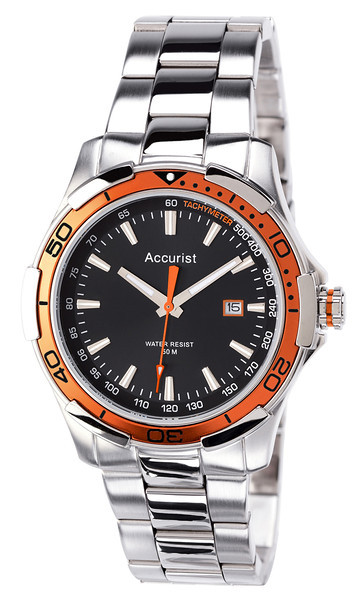 Accurist mb907ob mens bracelet orange bezel watch for Men decagonal bezel bracelet