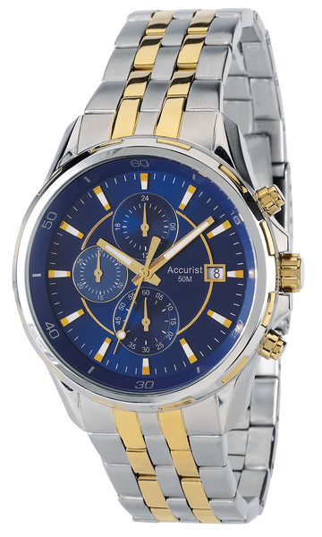Accurist Mb934n Mens Chrono Blue Face Two Tone Watch
