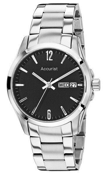 Accurist Mb987b Mens Silver Bracelet Black Face Watch