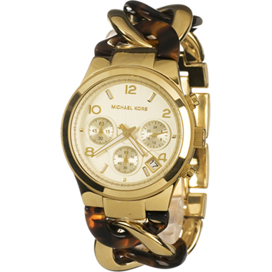 9a9831d0cce4 Michael Kors Chain Link Acrylic Gold-Tone Ladies Watch MK4222