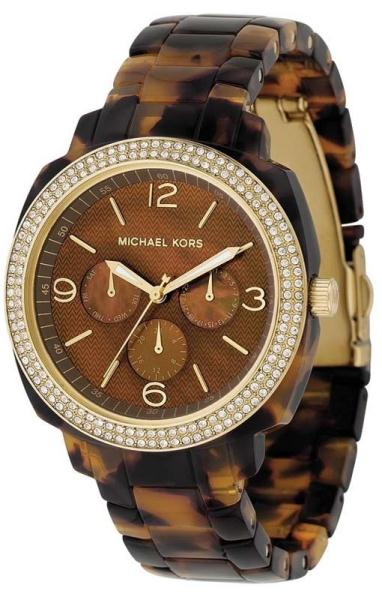Michael Kors Mk5086 Gold Amp Tortoise Shell Acrylic Ladies Watch