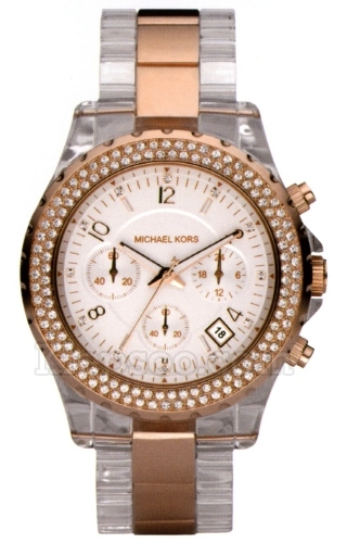 Michael Kors Watches Mk5323 Womens Clear Bracelet Rose Gold