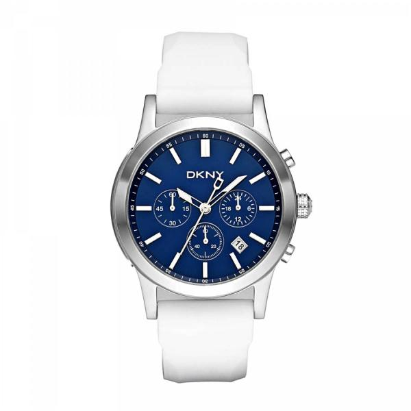 2650eb8e24c DKNY White Strap Blue Dial Mens Chronograph Watch NY1476