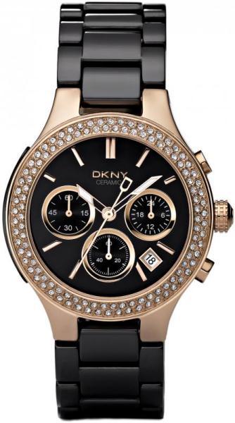 b68afcb4de9 DKNY Ladies  Black Ceramic and Rose Gold Chronograph - NY4984