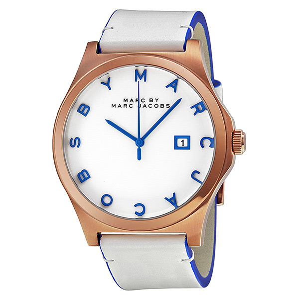 Marc Jacobs Henry White Dial Rose Gold-tone Stainless ...