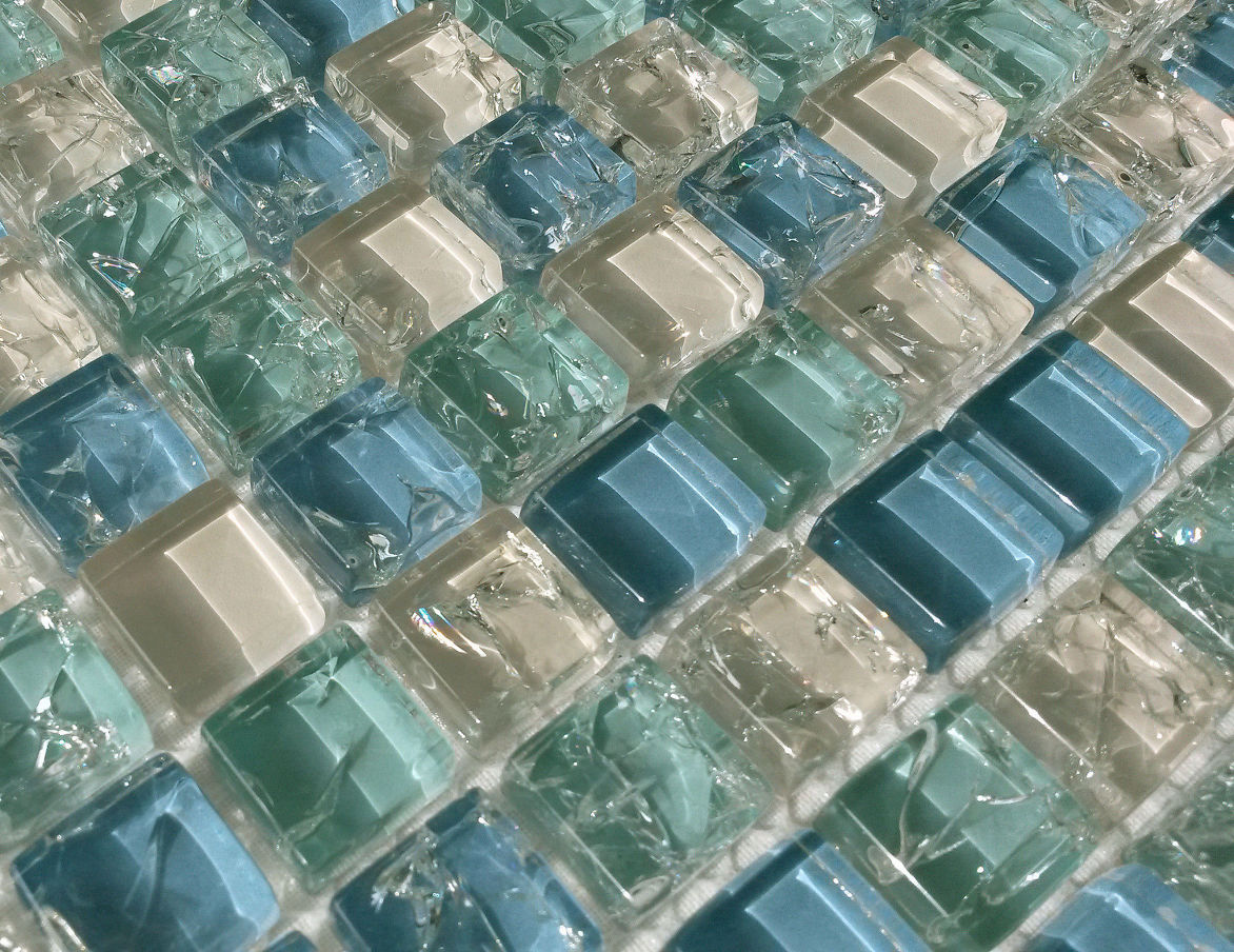 Blue Green White Crackle Glass Small Squares Mosaic Wall