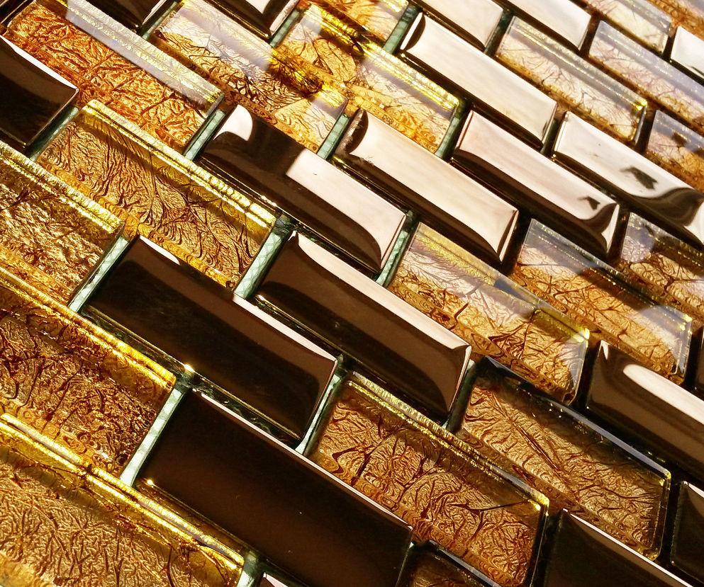 Luxury Copper Gold Metal Foil Glass Brick Rectangle Mosaic
