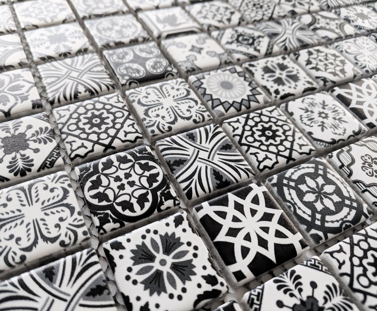 New black white moroccan style ceramic square mosaic wall tiles