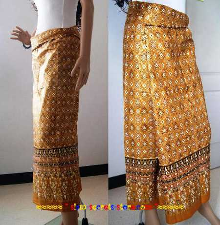 Thai Ladies Sarong Raw Gold Print Traditional Festival