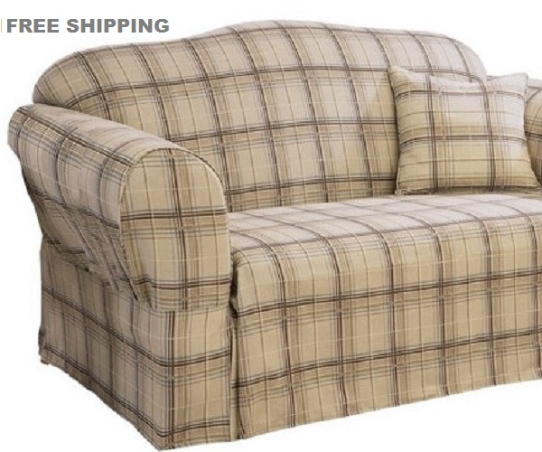 Sure Fit Loveseat Slipcover Plaid Tan Brown Tailored Skirt