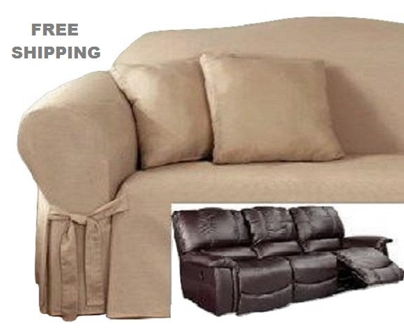 Reclining Sofa Slipcover Cotton Taupe Sure Fit Dual